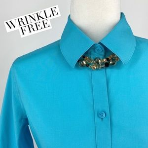 """ALEX MARIE Turquoise """"WRINKLE FREE"""" Button Down"""